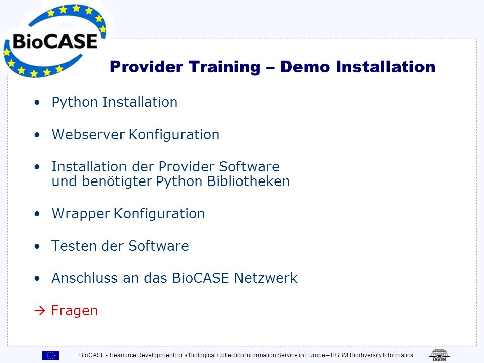 Provider Training – Demo Installation