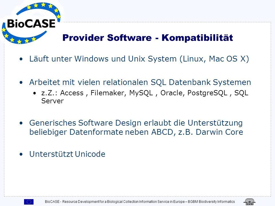 Provider Software - Kompatibilität