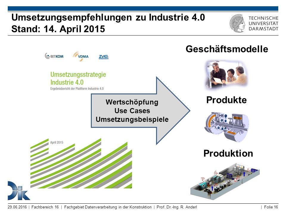 Umsetzungsempfehlungen zu Industrie 4.0 Stand: 14. April 2015
