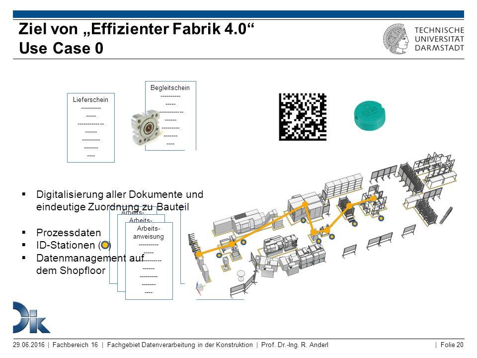 """Ziel von """"Effizienter Fabrik 4.0 Use Case 0"""