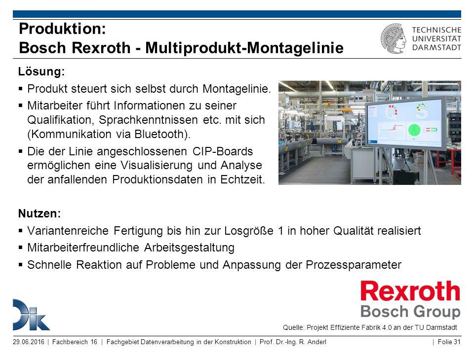Produktion: Bosch Rexroth - Multiprodukt-Montagelinie
