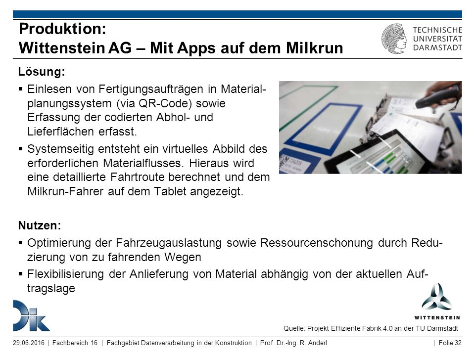 Produktion: Wittenstein AG – Mit Apps auf dem Milkrun
