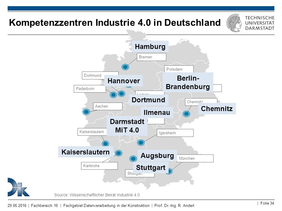 Kompetenzzentren Industrie 4.0 in Deutschland