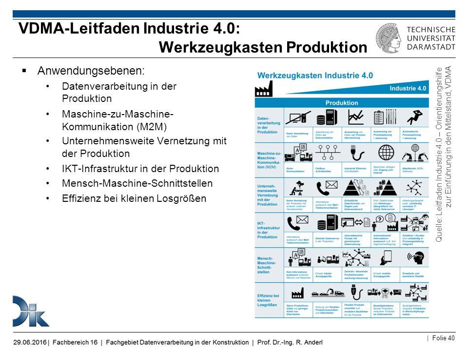 VDMA-Leitfaden Industrie 4.0: Werkzeugkasten Produktion