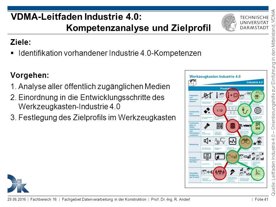 VDMA-Leitfaden Industrie 4.0: Kompetenzanalyse und Zielprofil