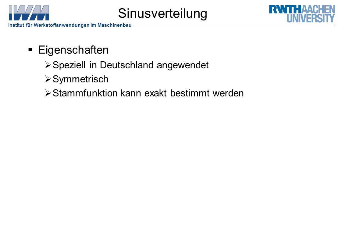 Sinusverteilung Eigenschaften Speziell in Deutschland angewendet