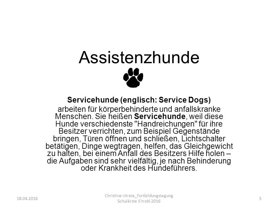 Assistenzhunde Servicehunde (englisch: Service Dogs)