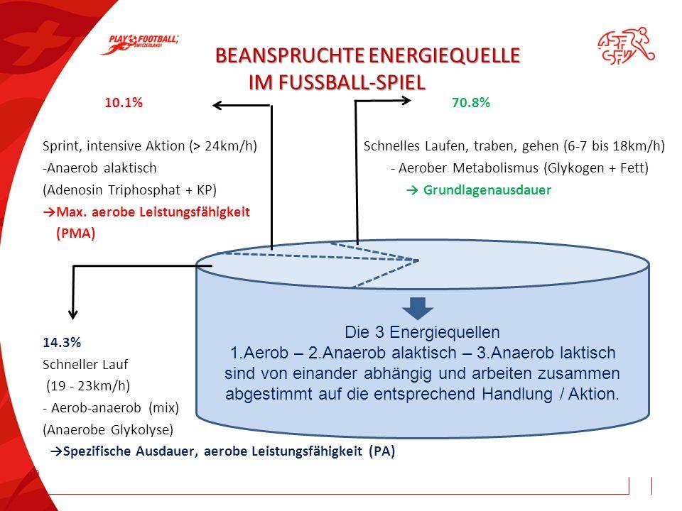 BEANSPRUCHTE ENERGIEQUELLE IM FUSSBALL-SPIEL
