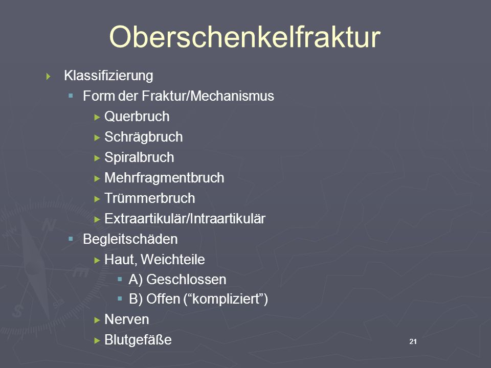 Oberschenkelfraktur Klassifizierung Form der Fraktur/Mechanismus