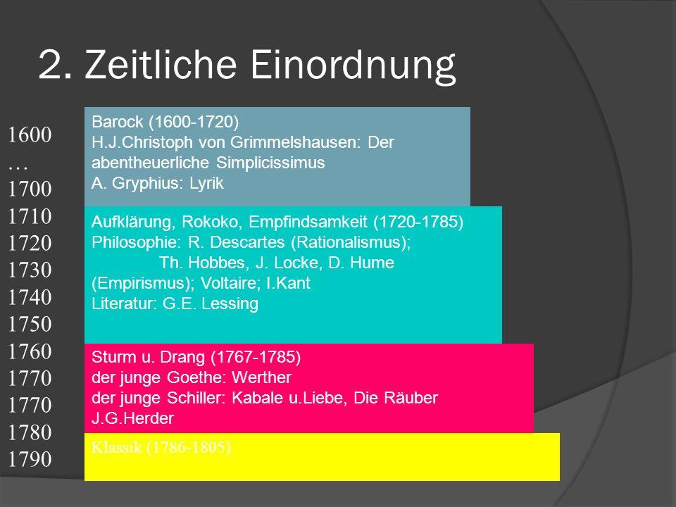 2. Zeitliche Einordnung 1600 … 1700 1710 1720 1730 1740 1750 1760 1770
