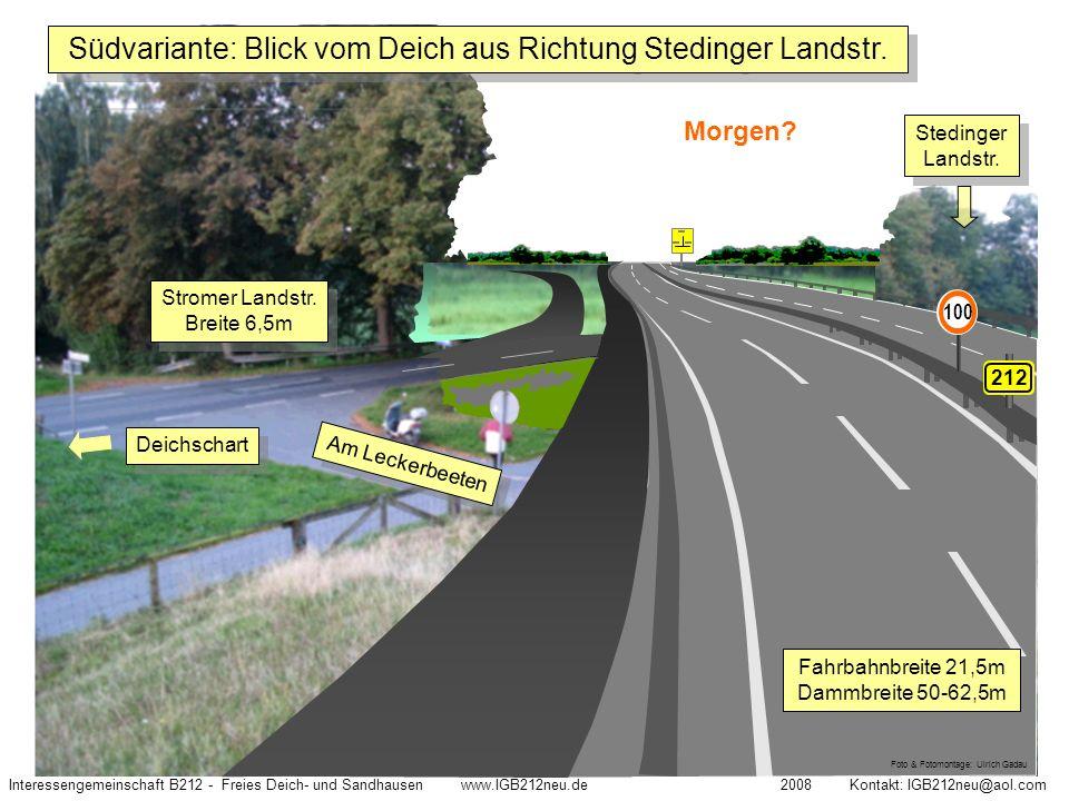Südvariante: Blick vom Deich aus Richtung Stedinger Landstr.
