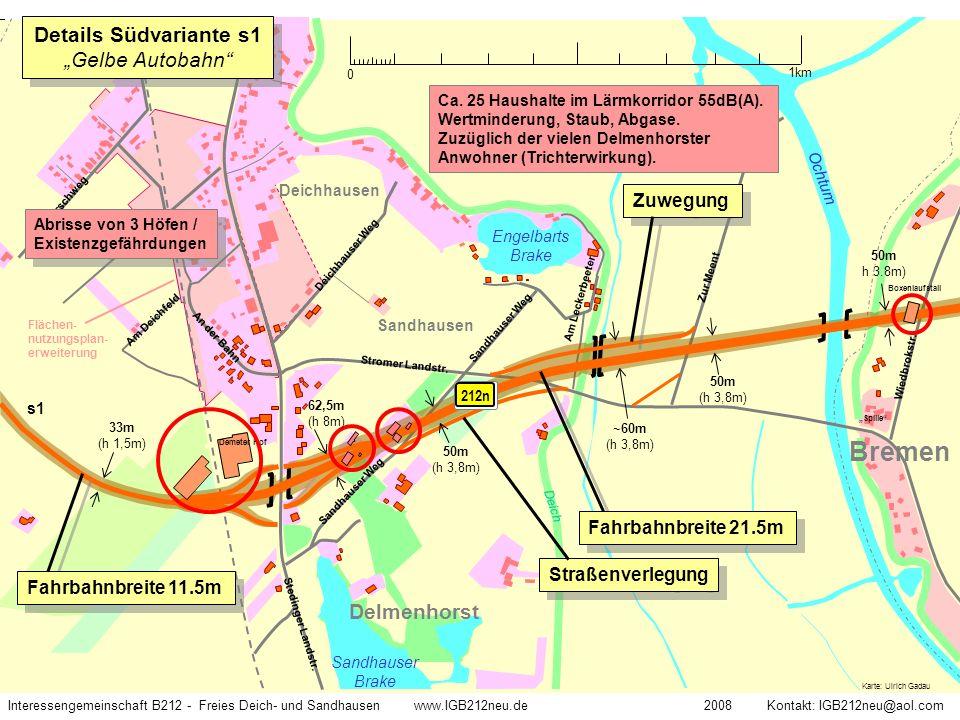 """Details Südvariante s1 """"Gelbe Autobahn"""