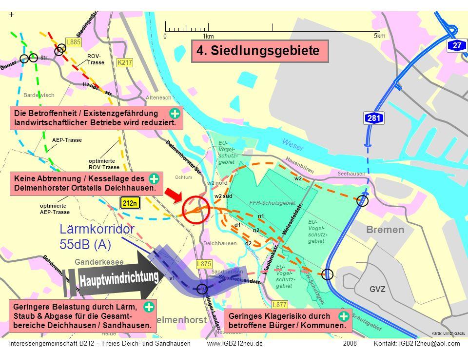 Hauptwindrichtung 4. Siedlungsgebiete Lärmkorridor 55dB (A) Bremen