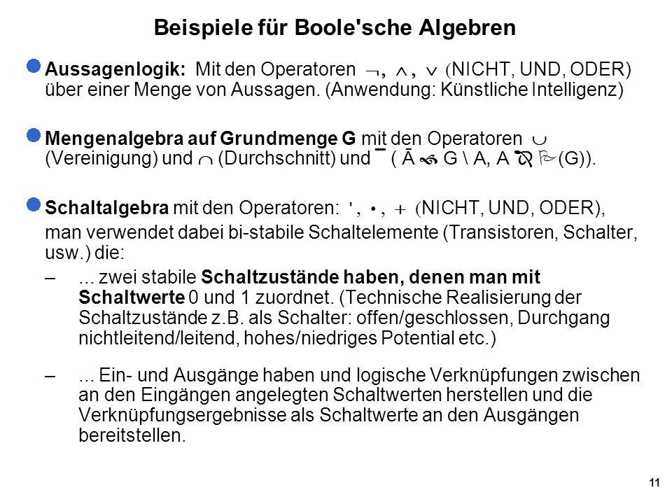 Beispiele für Boole sche Algebren
