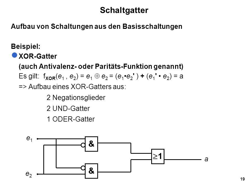 Schaltgatter 1 & Aufbau von Schaltungen aus den Basisschaltungen