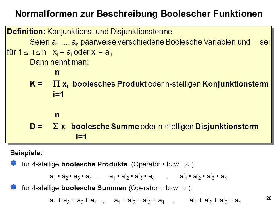Normalformen zur Beschreibung Boolescher Funktionen