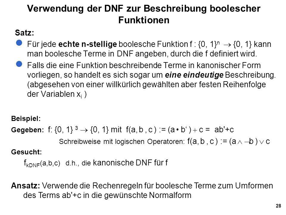Verwendung der DNF zur Beschreibung boolescher Funktionen