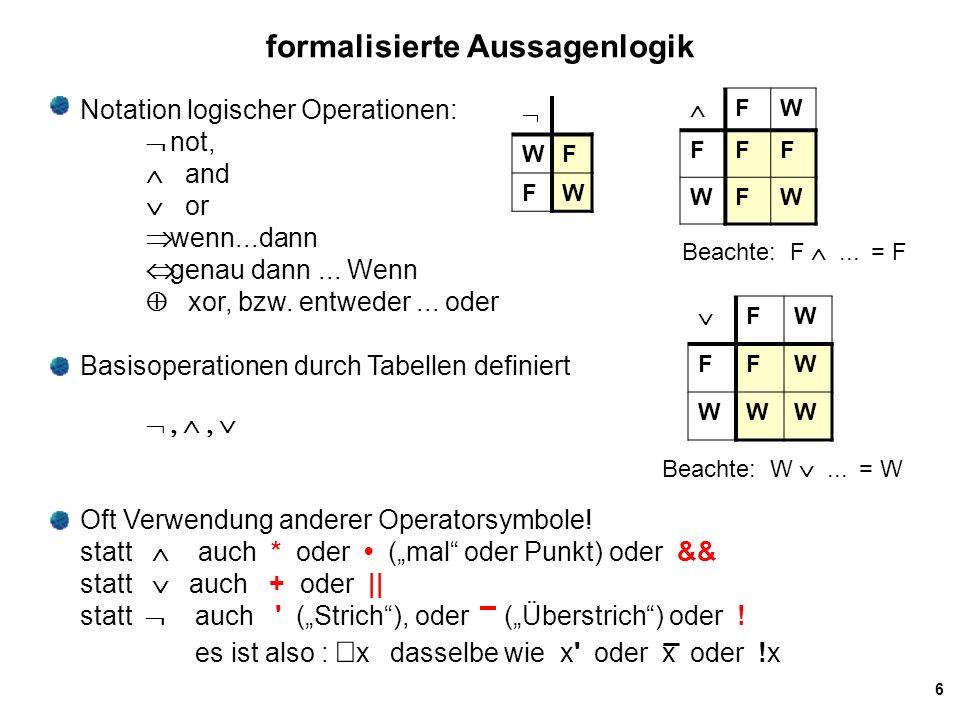 formalisierte Aussagenlogik