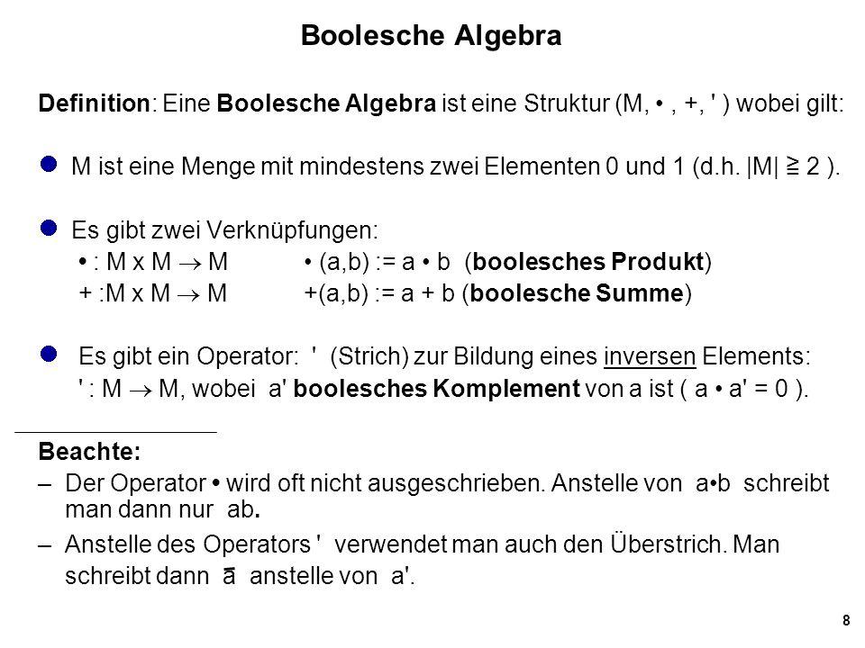 Boolesche Algebra Definition: Eine Boolesche Algebra ist eine Struktur (M, • , +, ) wobei gilt: