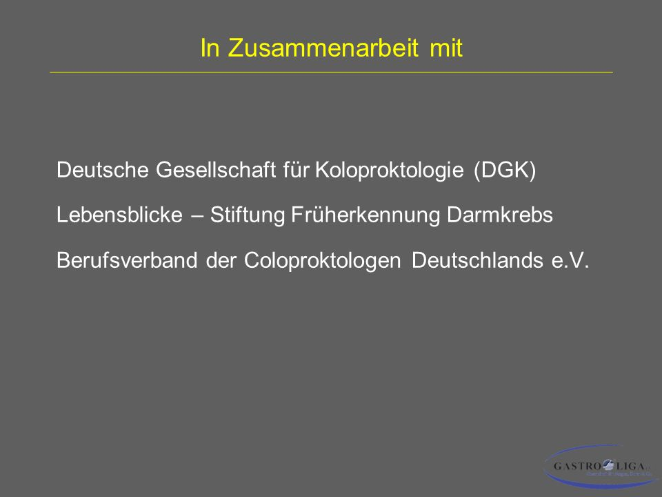In Zusammenarbeit mit Deutsche Gesellschaft für Koloproktologie (DGK)