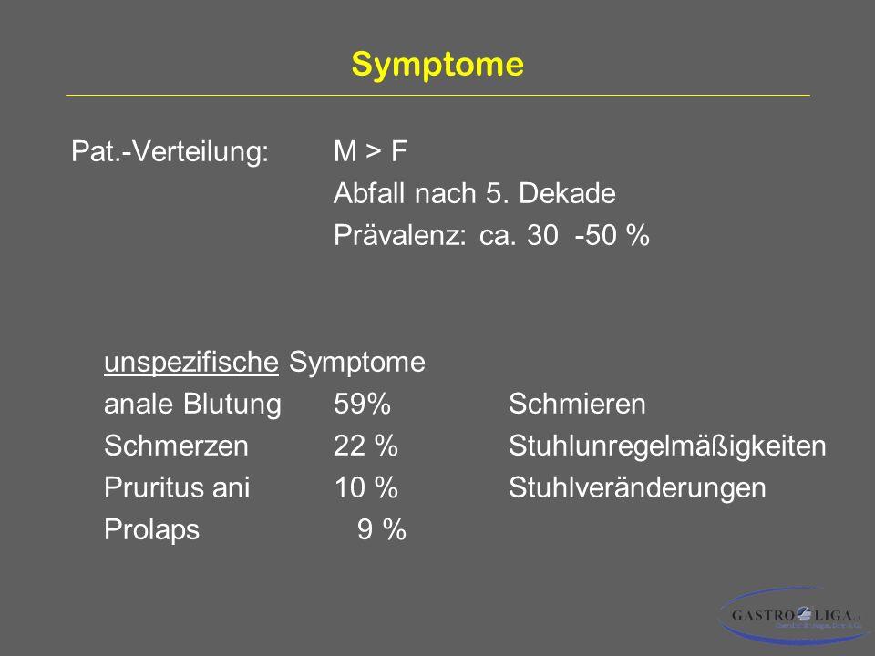 Symptome Pat.-Verteilung: M > F Abfall nach 5. Dekade