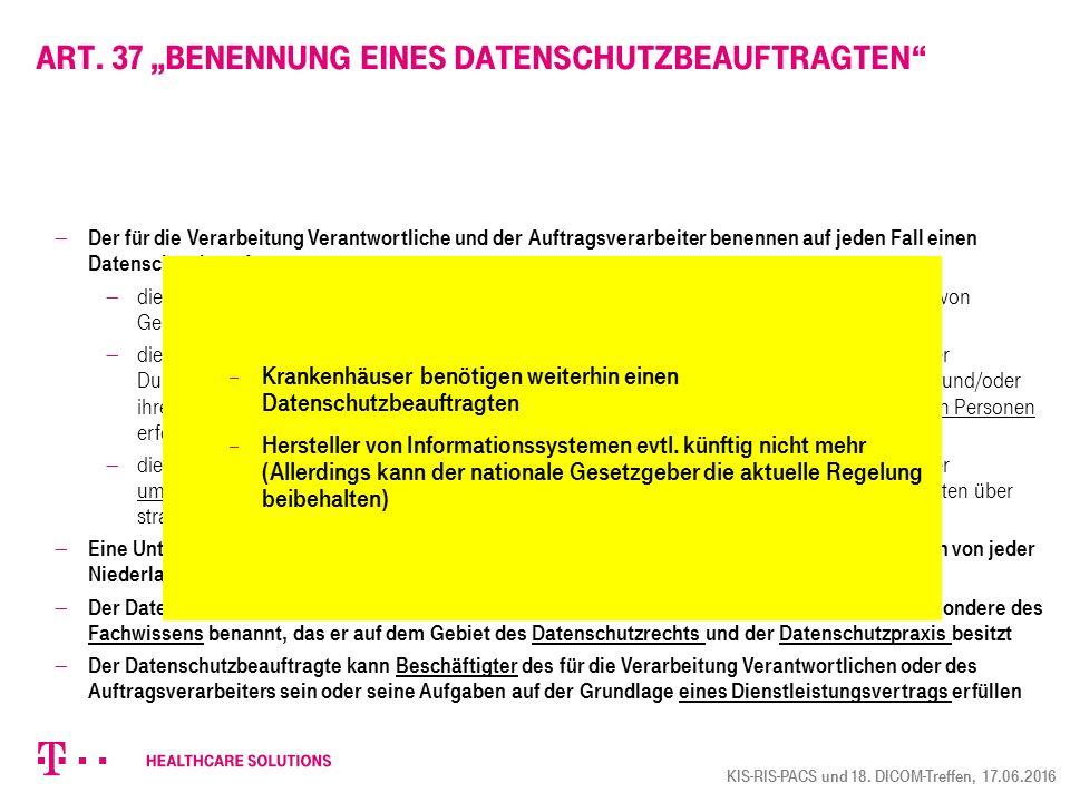 """Art. 37 """"Benennung eines Datenschutzbeauftragten"""