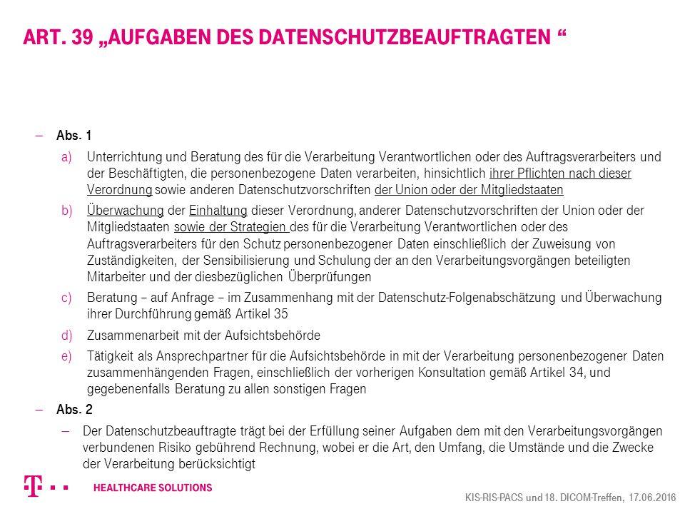 "Art. 39 ""Aufgaben des Datenschutzbeauftragten"
