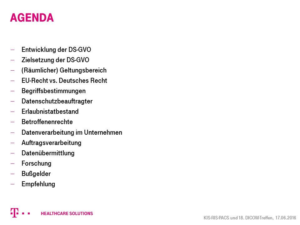 Agenda Entwicklung der DS-GVO Zielsetzung der DS-GVO