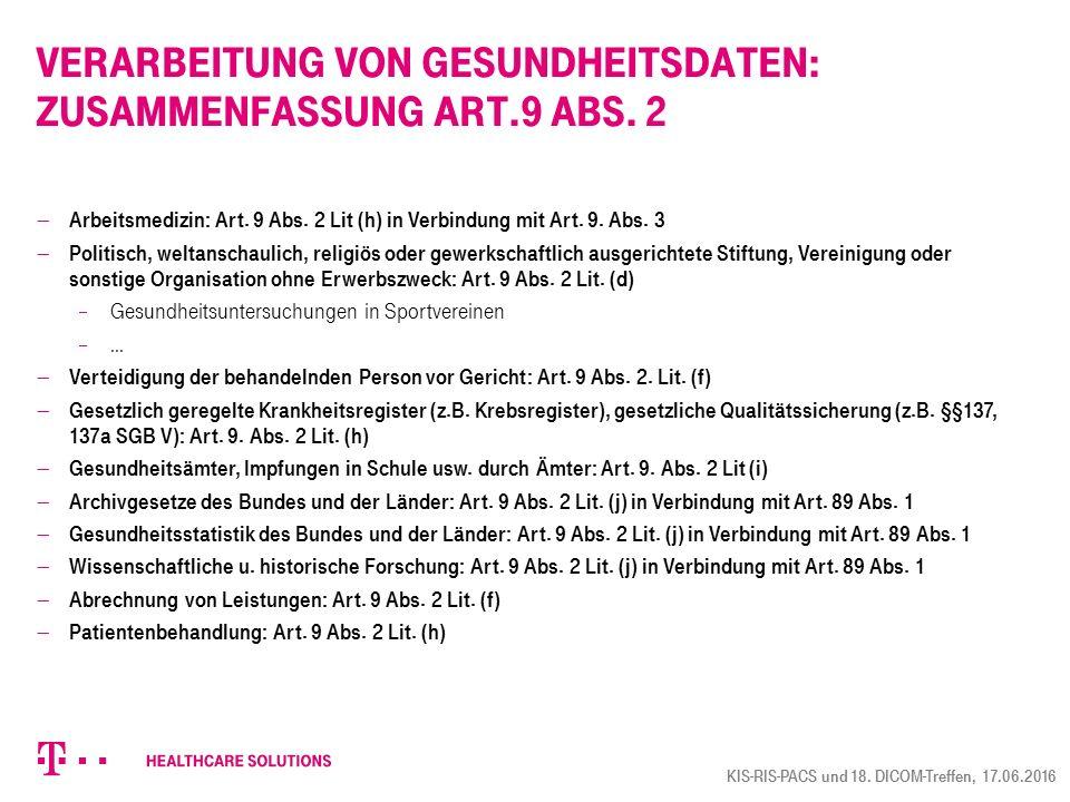 Verarbeitung von Gesundheitsdaten: Zusammenfassung Art.9 Abs. 2
