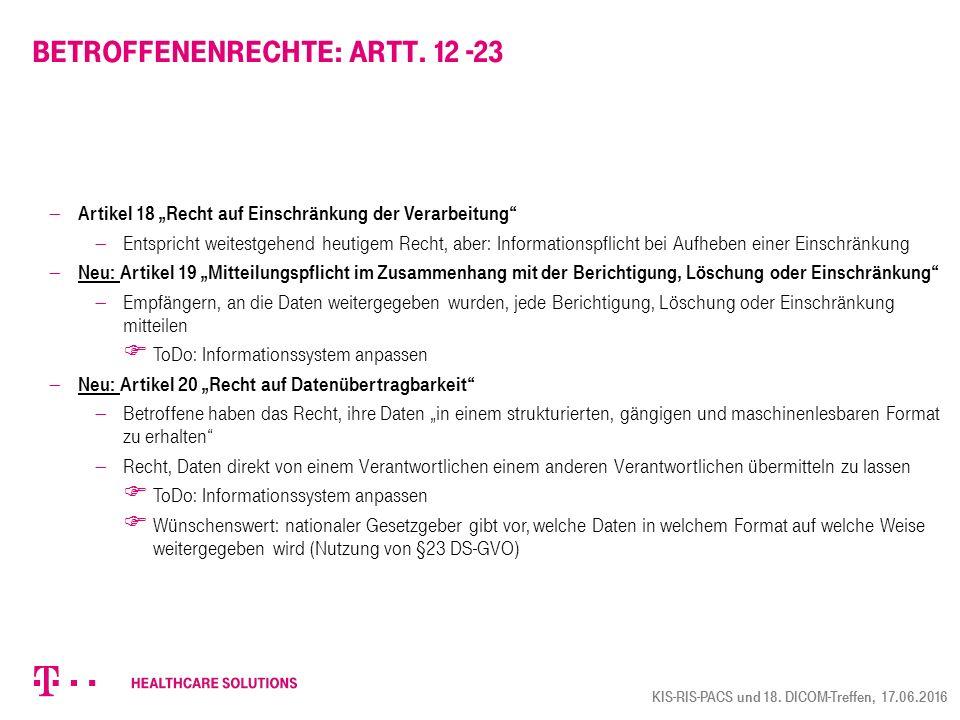 Betroffenenrechte: Artt. 12 -23