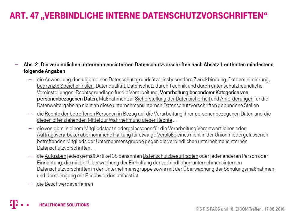 """Art. 47 """"verbindliche interne Datenschutzvorschriften"""