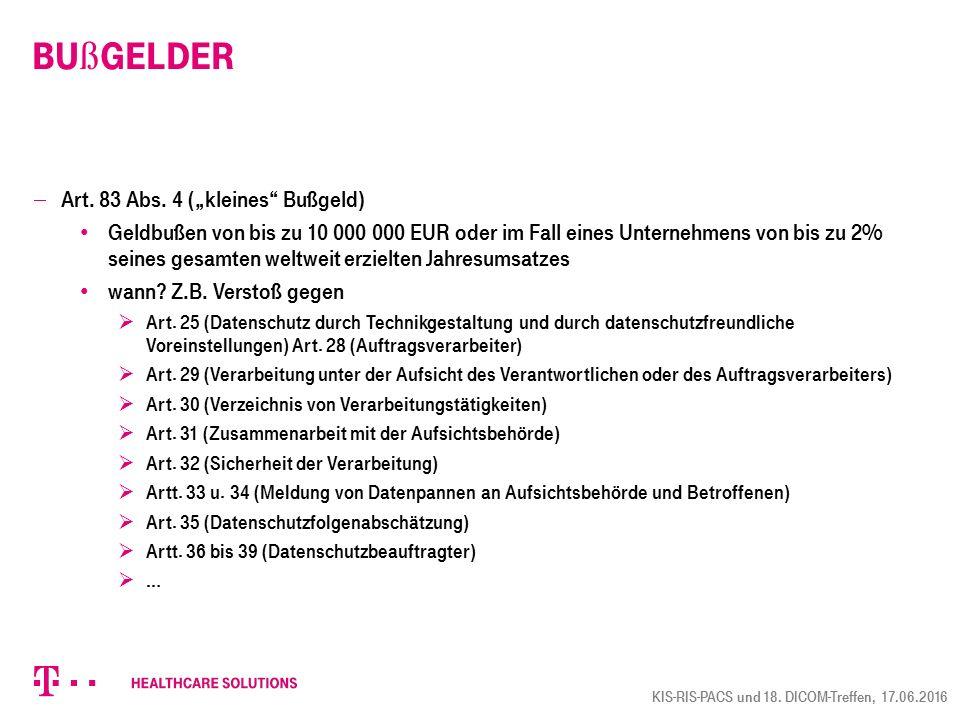 """Bußgelder Art. 83 Abs. 4 (""""kleines Bußgeld)"""