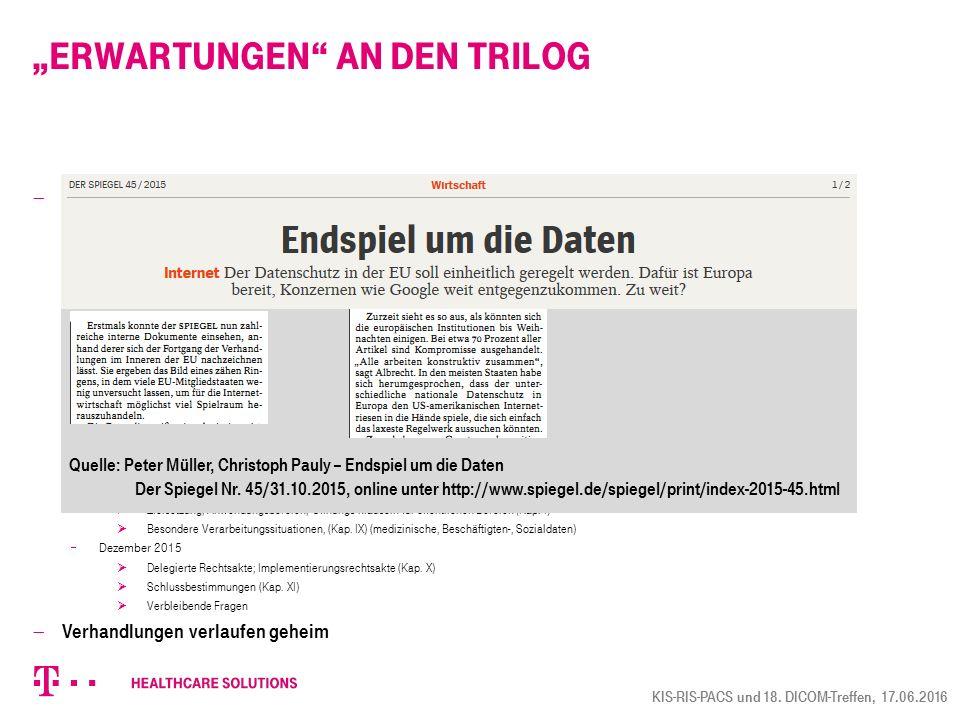"""""""Erwartungen an den Trilog"""