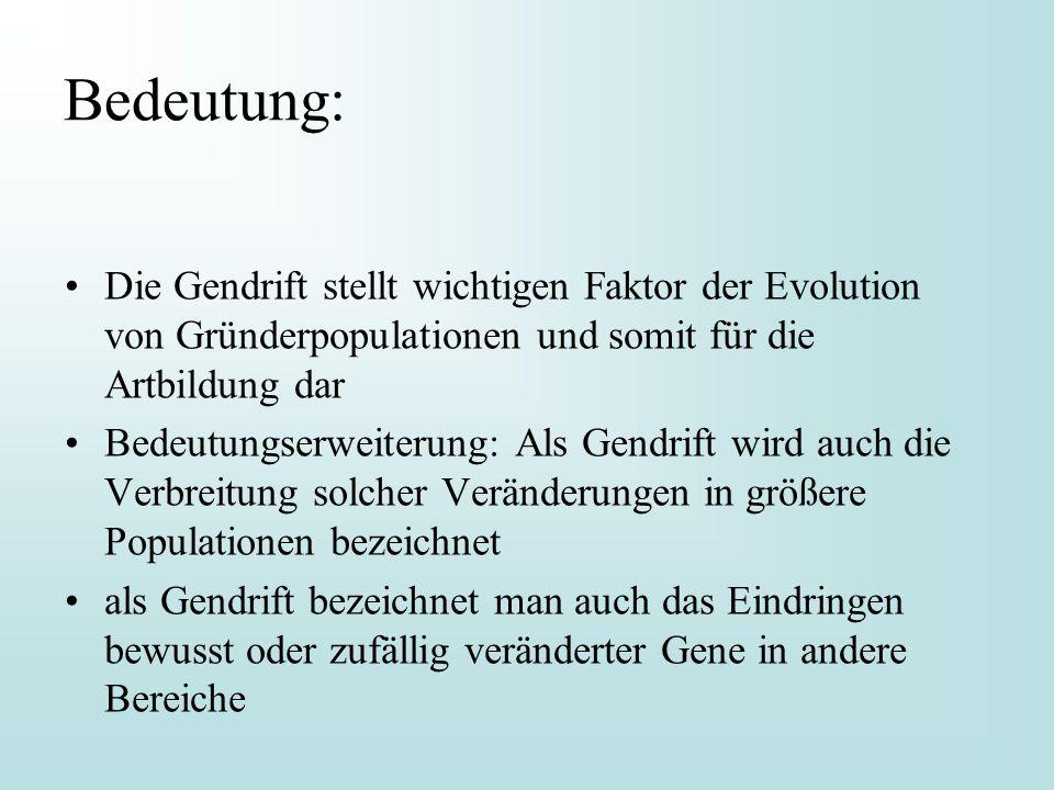Bedeutung: Die Gendrift stellt wichtigen Faktor der Evolution von Gründerpopulationen und somit für die Artbildung dar.