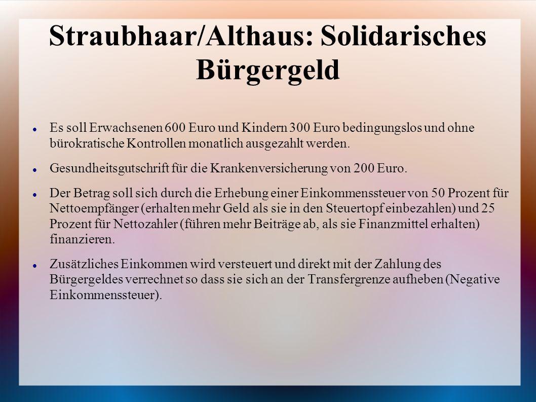 Straubhaar/Althaus: Solidarisches Bürgergeld