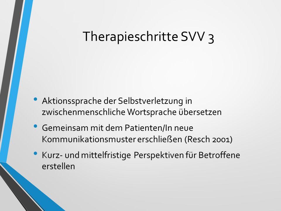 Therapieschritte SVV 3 Aktionssprache der Selbstverletzung in zwischenmenschliche Wortsprache übersetzen.