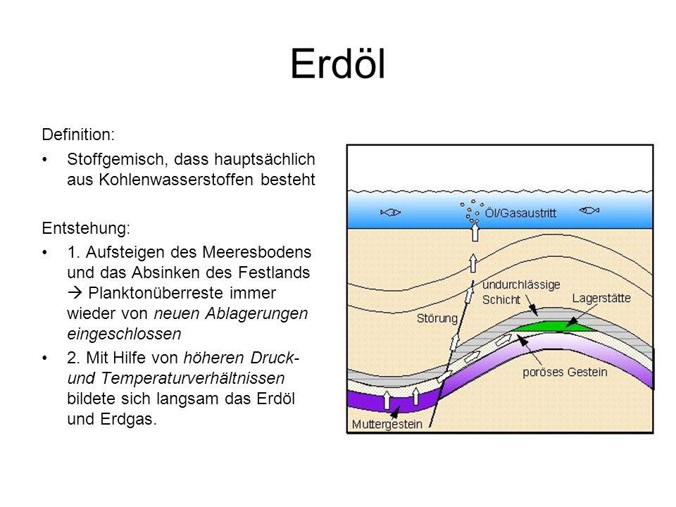 Erdöl Definition: Stoffgemisch, dass hauptsächlich aus Kohlenwasserstoffen besteht. Entstehung: