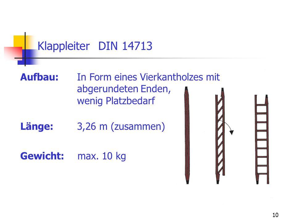 Klappleiter DIN 14713 Aufbau: In Form eines Vierkantholzes mit