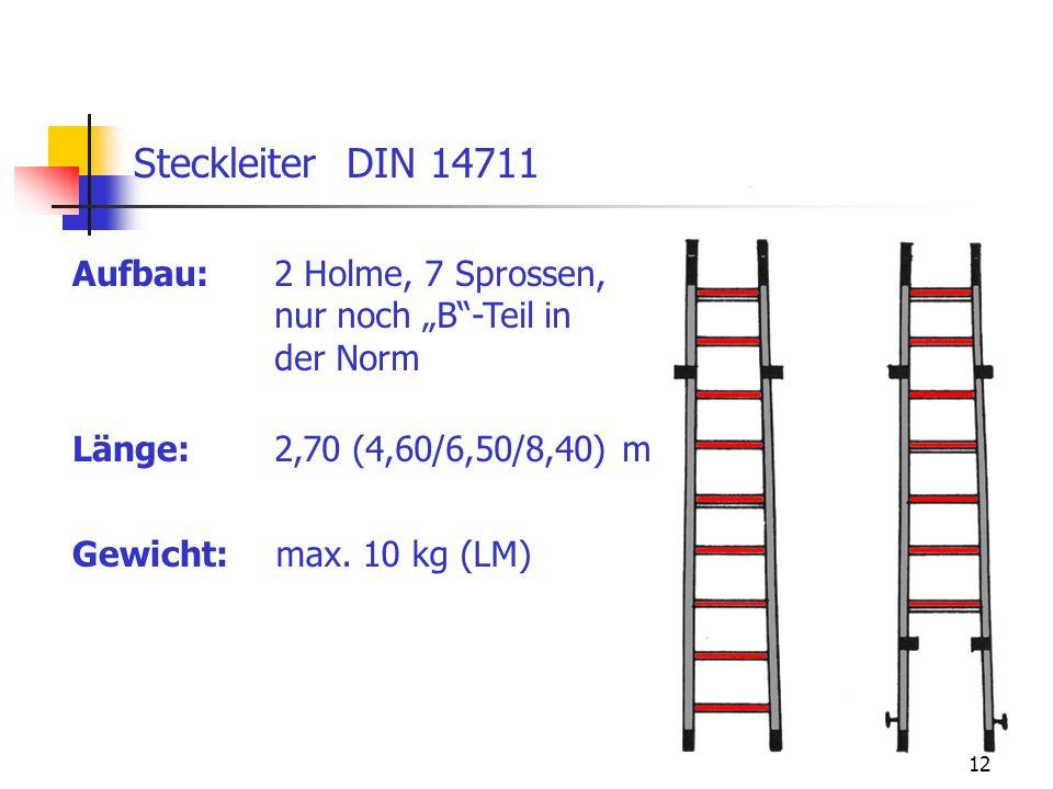 Steckleiter DIN 14711 Aufbau: 2 Holme, 7 Sprossen,