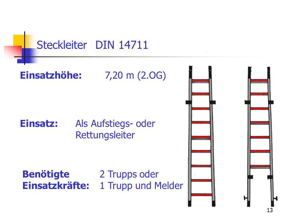 Steckleiter DIN 14711 Einsatzhöhe: 7,20 m (2.OG) Einsatz: