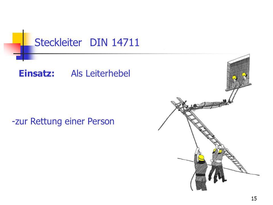 Steckleiter DIN 14711 Einsatz: Als Leiterhebel