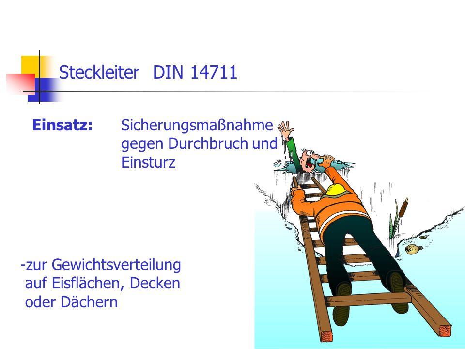 Steckleiter DIN 14711 Einsatz: Sicherungsmaßnahme gegen Durchbruch und