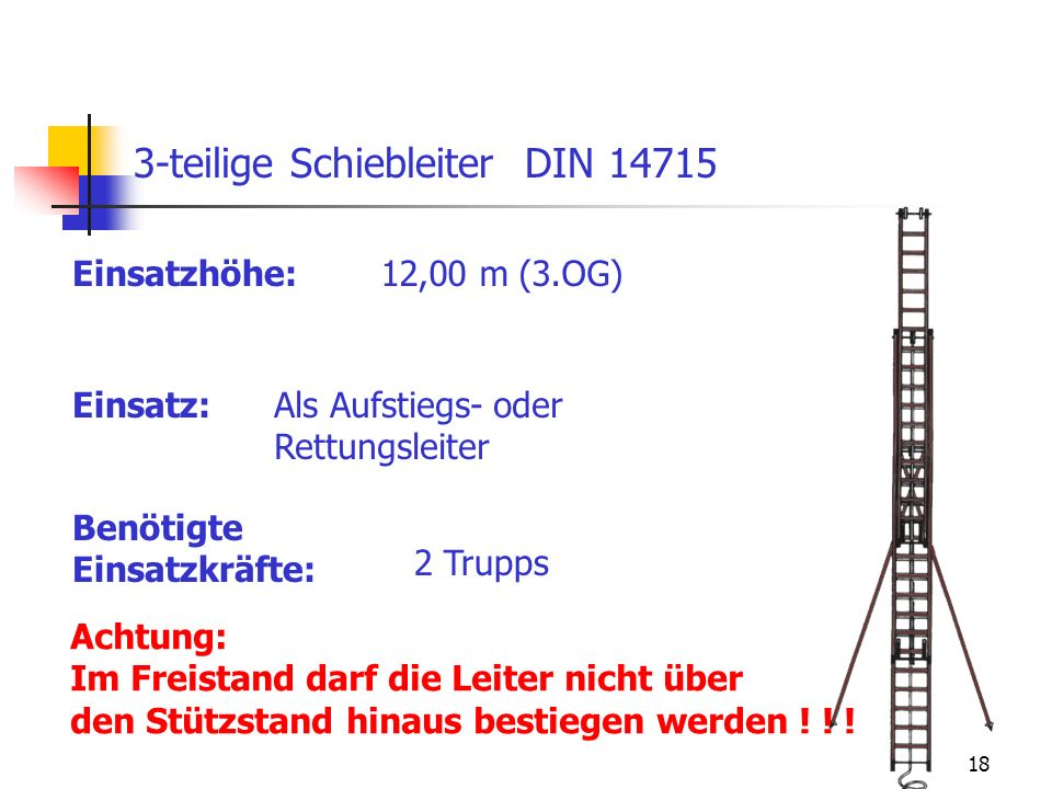 3-teilige Schiebleiter DIN 14715