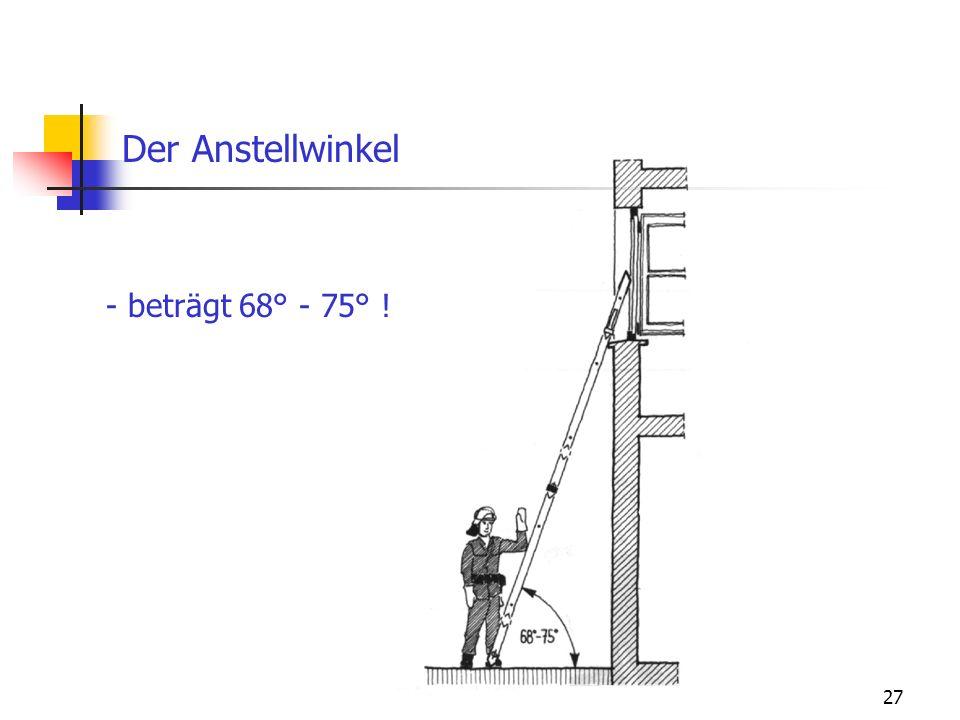 Der Anstellwinkel - beträgt 68° - 75° !