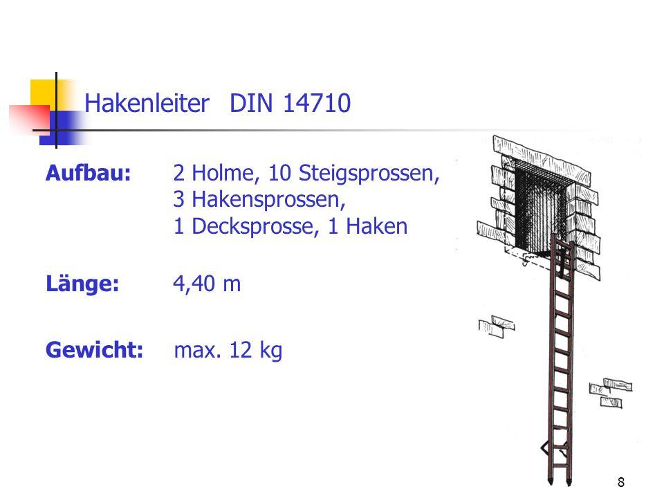 Hakenleiter DIN 14710 Aufbau: 2 Holme, 10 Steigsprossen,