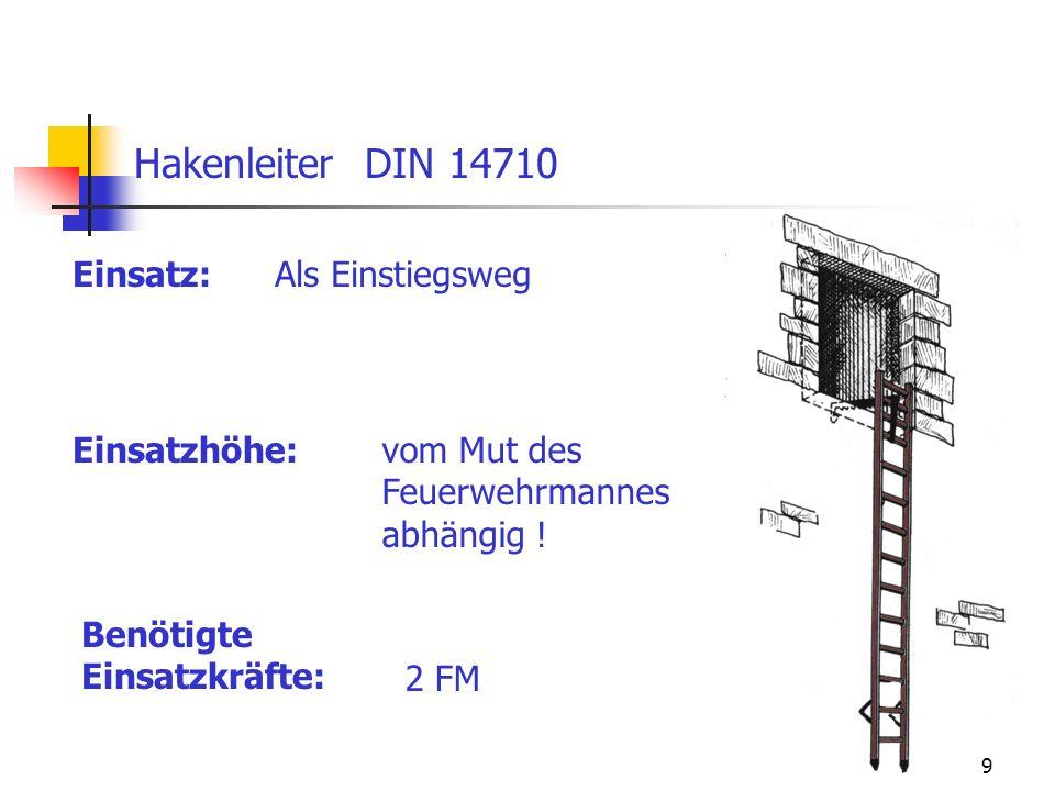 Hakenleiter DIN 14710 Einsatz: Als Einstiegsweg Einsatzhöhe: