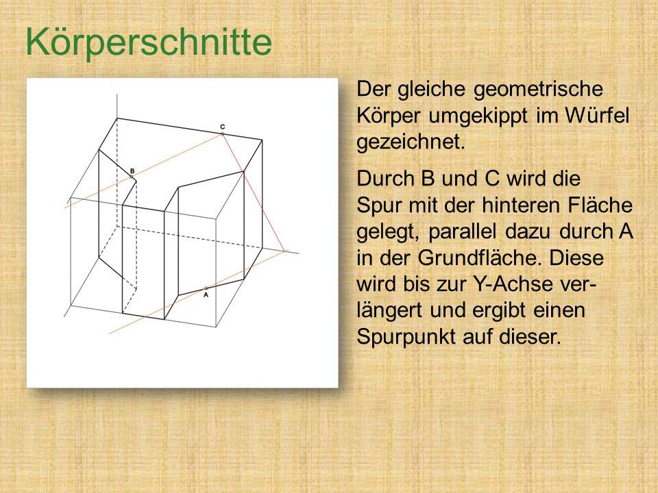 Körperschnitte Der gleiche geometrische Körper umgekippt im Würfel gezeichnet.