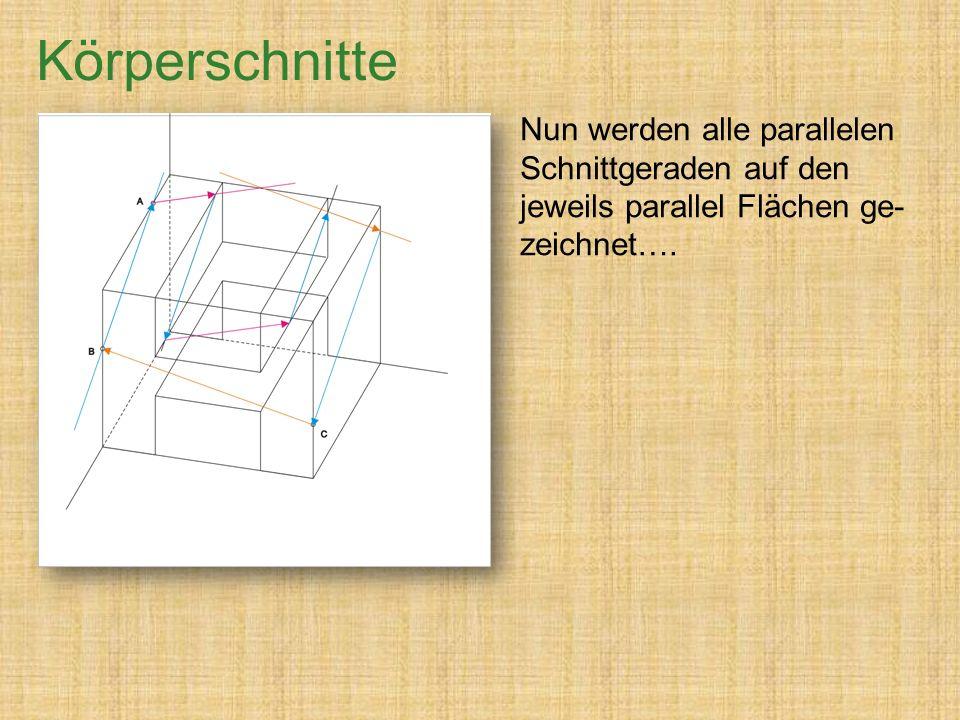 Körperschnitte Nun werden alle parallelen Schnittgeraden auf den jeweils parallel Flächen ge-zeichnet….
