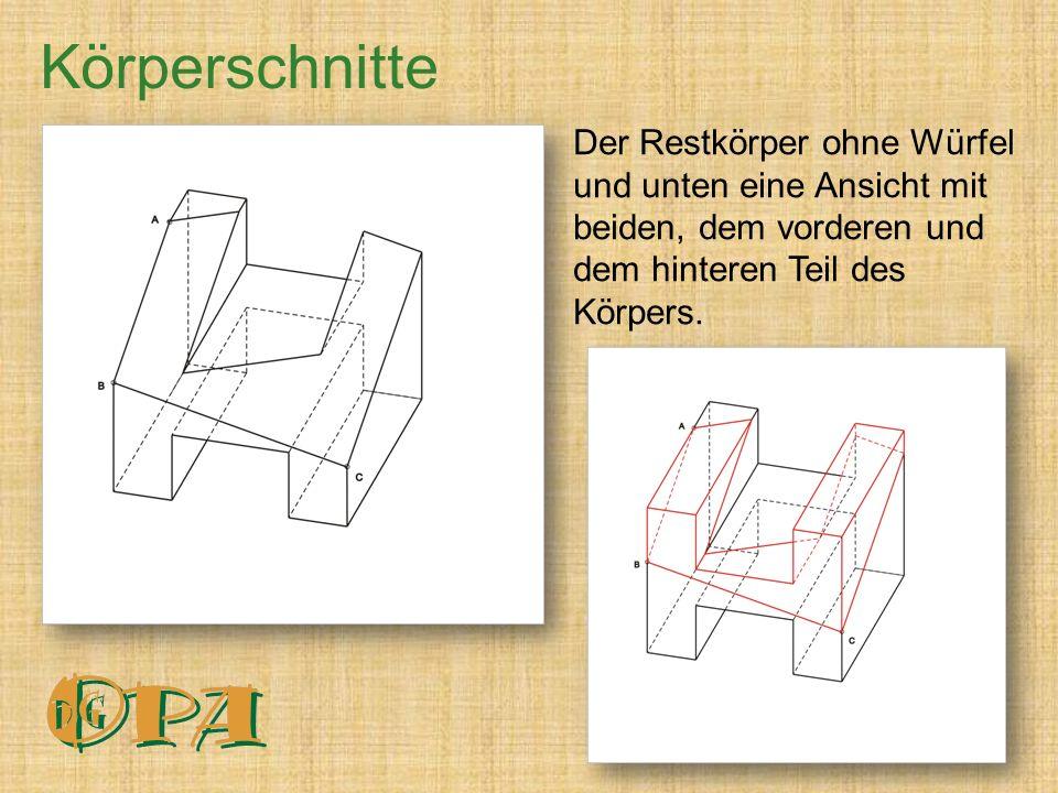 Körperschnitte Der Restkörper ohne Würfel und unten eine Ansicht mit beiden, dem vorderen und dem hinteren Teil des Körpers.