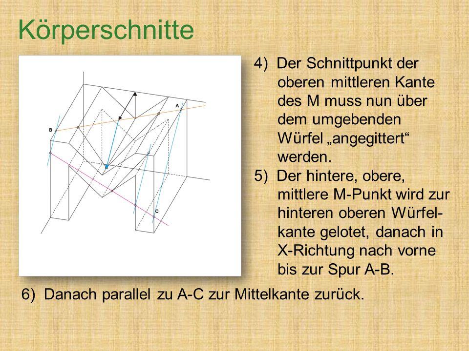"""Körperschnitte 4) Der Schnittpunkt der oberen mittleren Kante des M muss nun über dem umgebenden Würfel """"angegittert werden."""